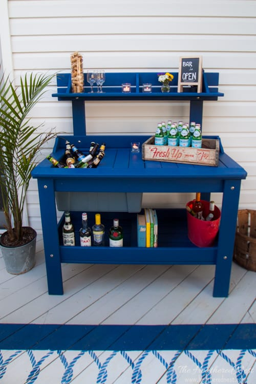 Outdoor Potting Bench Turns Diy Bar Cart A Metamorphosis The Heathered Nest