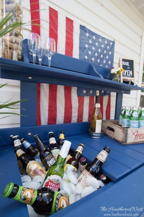 the patio potting table turned DIY bar cart www.heatherednest.com