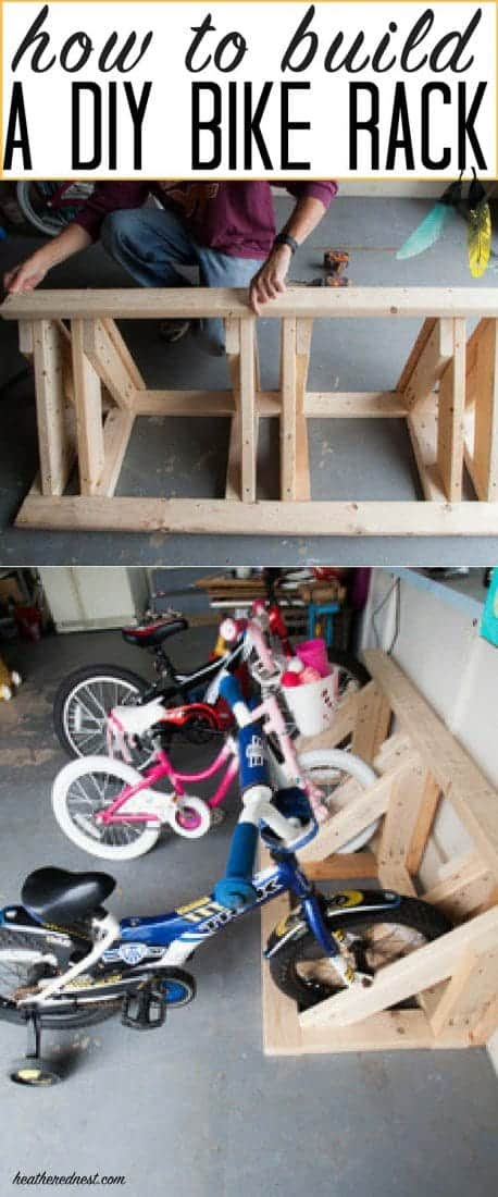 Easy DIY bike rack DIY with FREE plans included! #diybikerack #garageorganizationideas #kidbikestorage #bikerack #howtobuildabikerack #bikestorageforkids #build #garagestorageideas