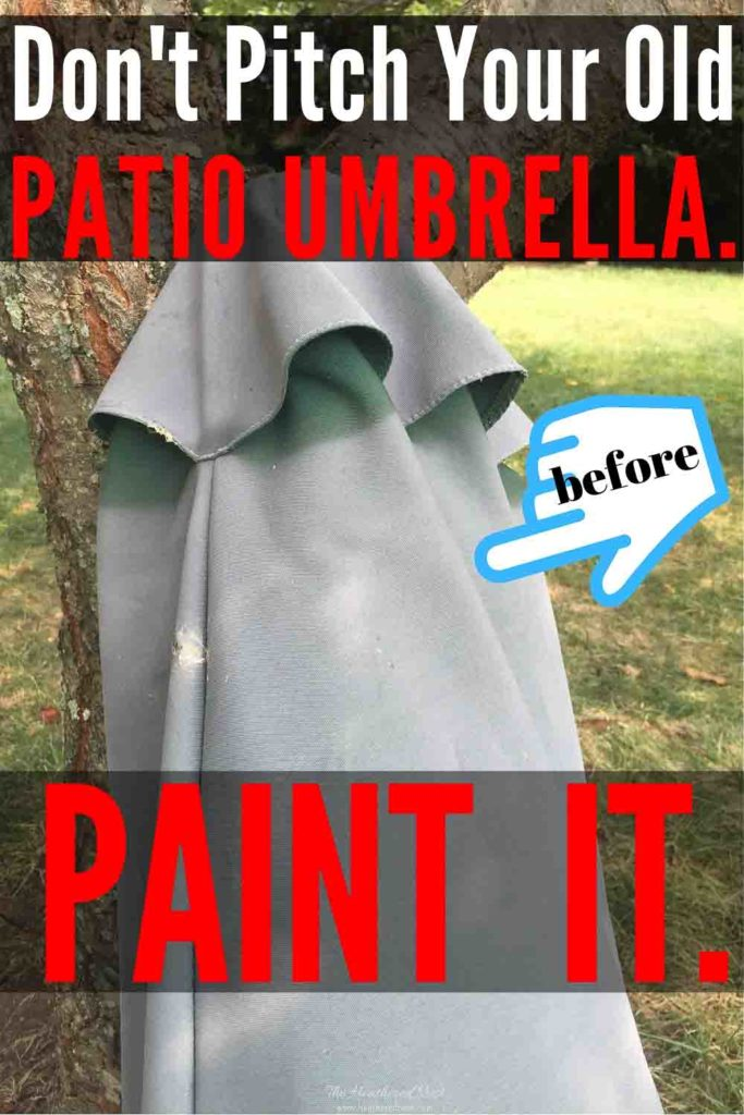 Don't throw it out! Throw it some paint! Did you know you can revive your faded patio umbrella with paint?! YES. YOU CAN! #paintedpatioumbrella #umbrellapainting #patioumbrellaideas #patioumbrellamakeover #patioumbrellaDIY #patioumbrellaupdate #patioumbrellapaint #outdoorumbrella #howtopaintanoutdoorumbrella #DIYpatioumbrellapainting #howtopaintapatioumbrella #paintafadedumbrella