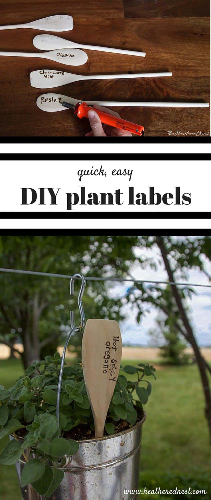 SUCH A GREAT, SIMPLE IDEA!! Quick, simple, inexpensive DIY plant labels garden markers from www.heatherednest.com