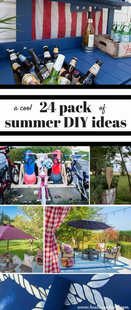 24 summer DIY ideas for your porch, patio, deck or outdoor living space from www.heatherednest.com and the DIY housewives!