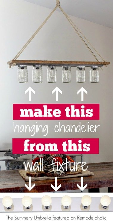 DIY-rustic-mason-jar-and-wood-hanging-chandelier-pendant-light-The-Summery-Umbrella-featured-on-@Remodelaholic