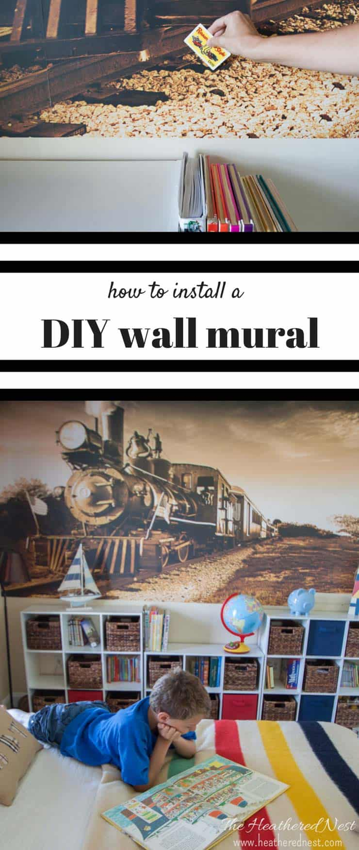 A vinyl wall mural is a great way to add a lot of bang for not a lot of buck! We'll show you how to install this DIY wall mural. And the best part is, it's also easy to remove! No glue/wallpaper paste or damage to your walls!! from www.heatherednest.com