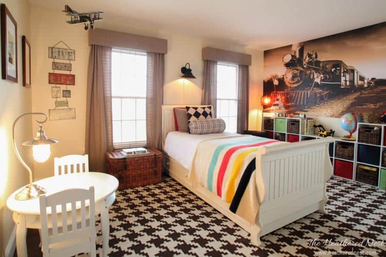 boys transportation and train themed bedroom