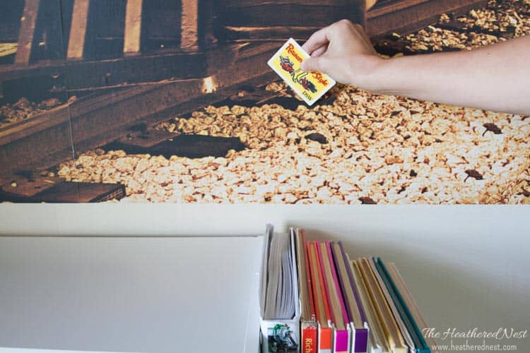 easy DIY wall mural. how to apply wall decals from www.heatherednest.com-5-2