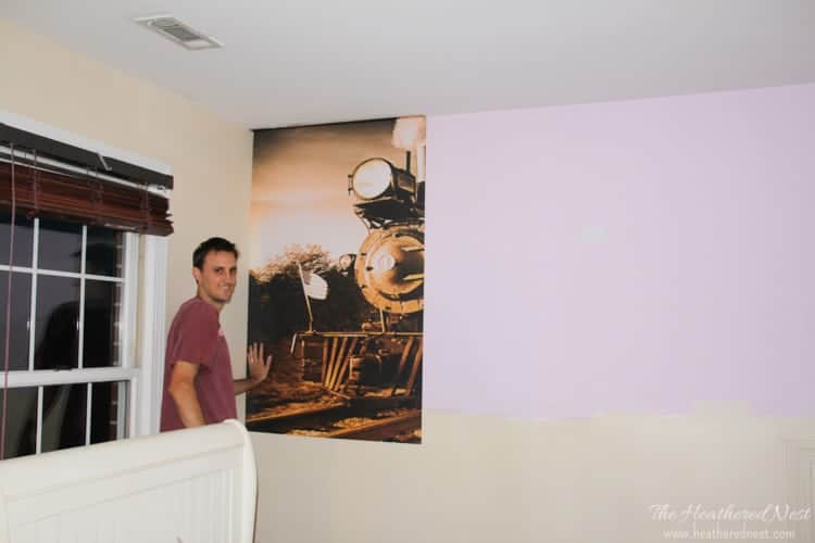 easy DIY wall mural. how to apply wall decals from www.heatherednest.com-5