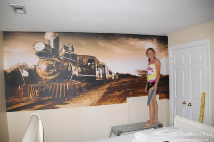 easy DIY wall mural. how to apply wall decals from www.heatherednest.com-6