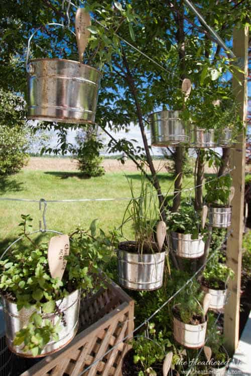 Summer garden and house tour from www.heatherednest.com DIY plant labels garden labels and DIY vertical garden