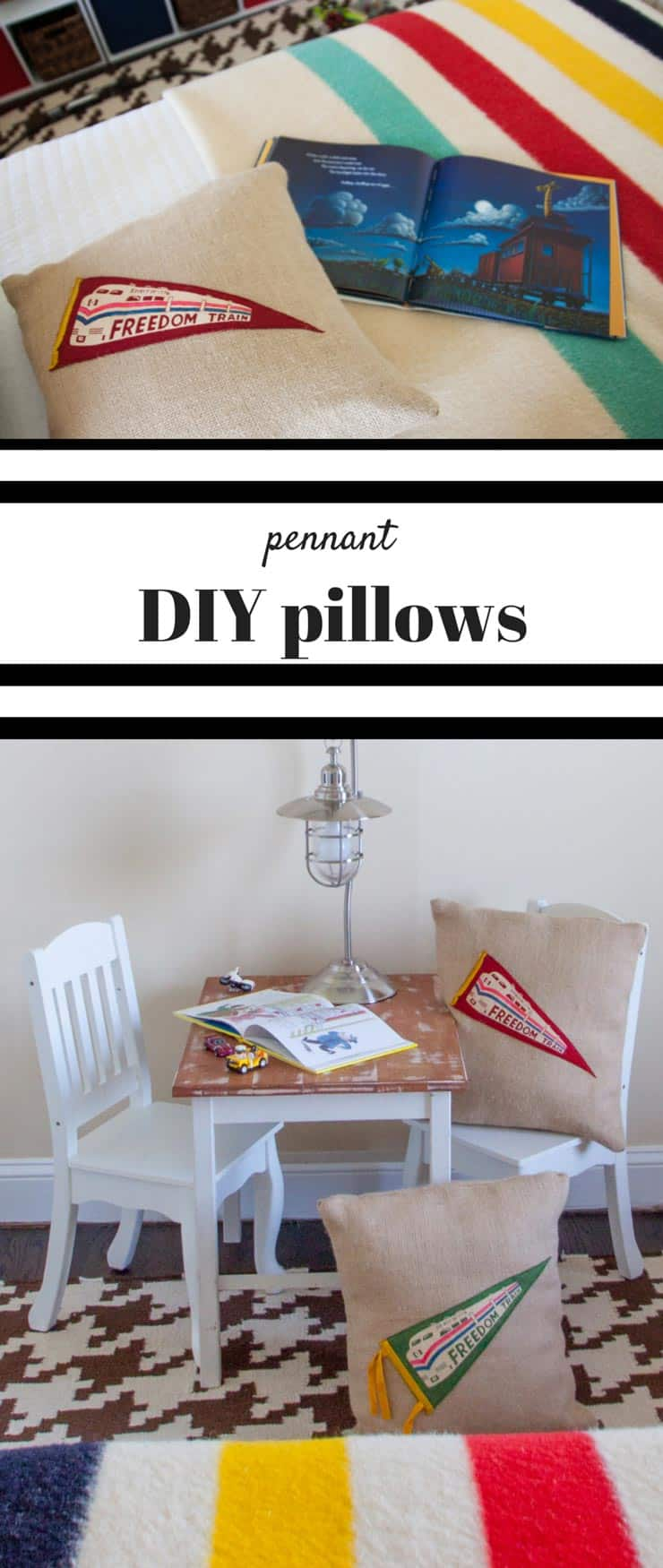 EASY & INEXPENSIVE! These DIY pillows with pennants are a GREAT way to personalize a space! Sew and no-sew options! from www.heatherednest.com
