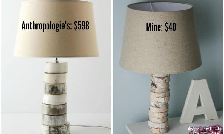 Designer Trapped Anthropologie Knock-Off Wood Slice DIY Lamp