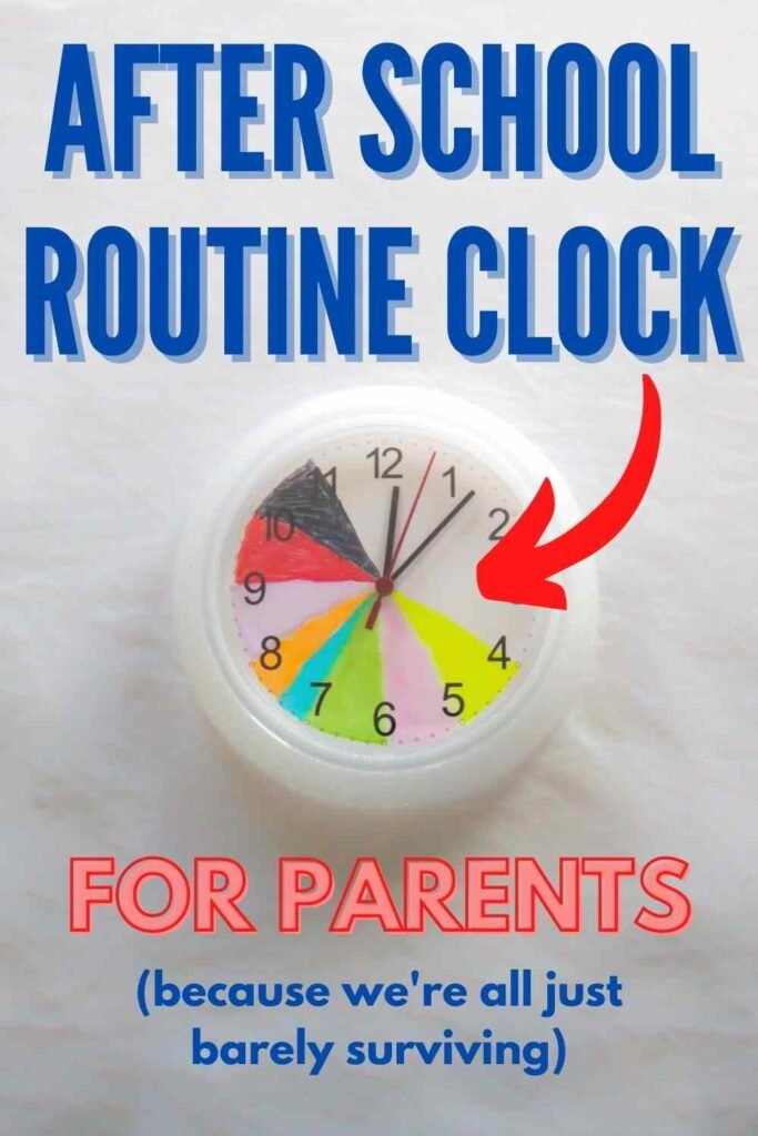 """""""After School Routine Clock - For Parents"""" with color-coded clock on white table"""
