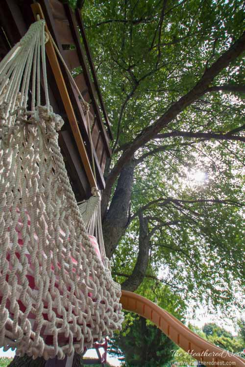 Hammock chair in DIY treehouse