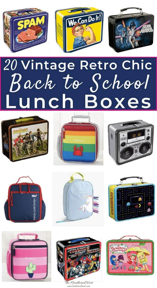 20 adorable vintage vibed lunch boxes for back to school! These retro chic lunchboxes are so fun!! #vintagelunchboxes #popularlunchboxesforkids #kidslunchboxes #lunchboxesforkids #lunchbox #retrolunchbox #vintagelunchbox