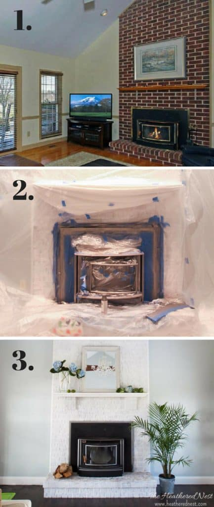 step by step process for painting a fireplace / wood stove
