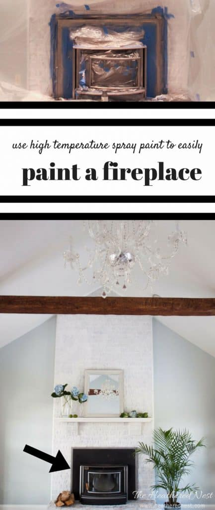 Painting a fireplace with high temperature spray paint is a SUPER inexpensive and VERY easy DIY! It's a 2 step deal...THAT'S IT. And costs less than $5!! HAVE TO TRY THIS ONE!!