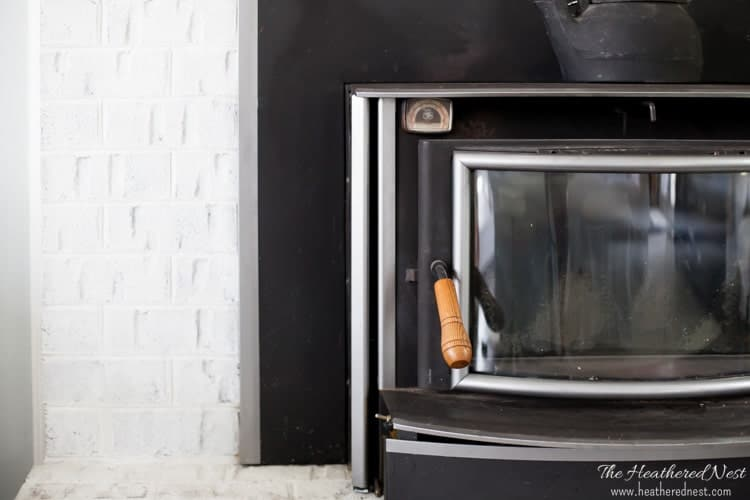 How to update that dated wood stove!! Easy and inexpensive DIY project!! Tutorial from heatherednest.com