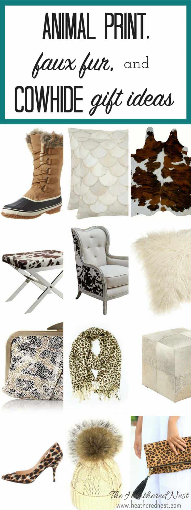 SO MANY gorgeous ideas here!!! LOVE the faux fur. The animal print handbags!!! That cowhide rug!!! GREAT holiday gift ideas...for ME!