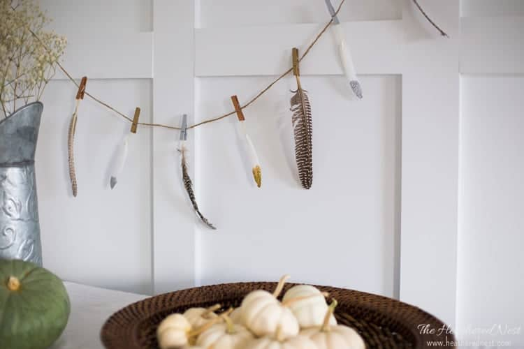DIY 5 minute feather craft fall garland