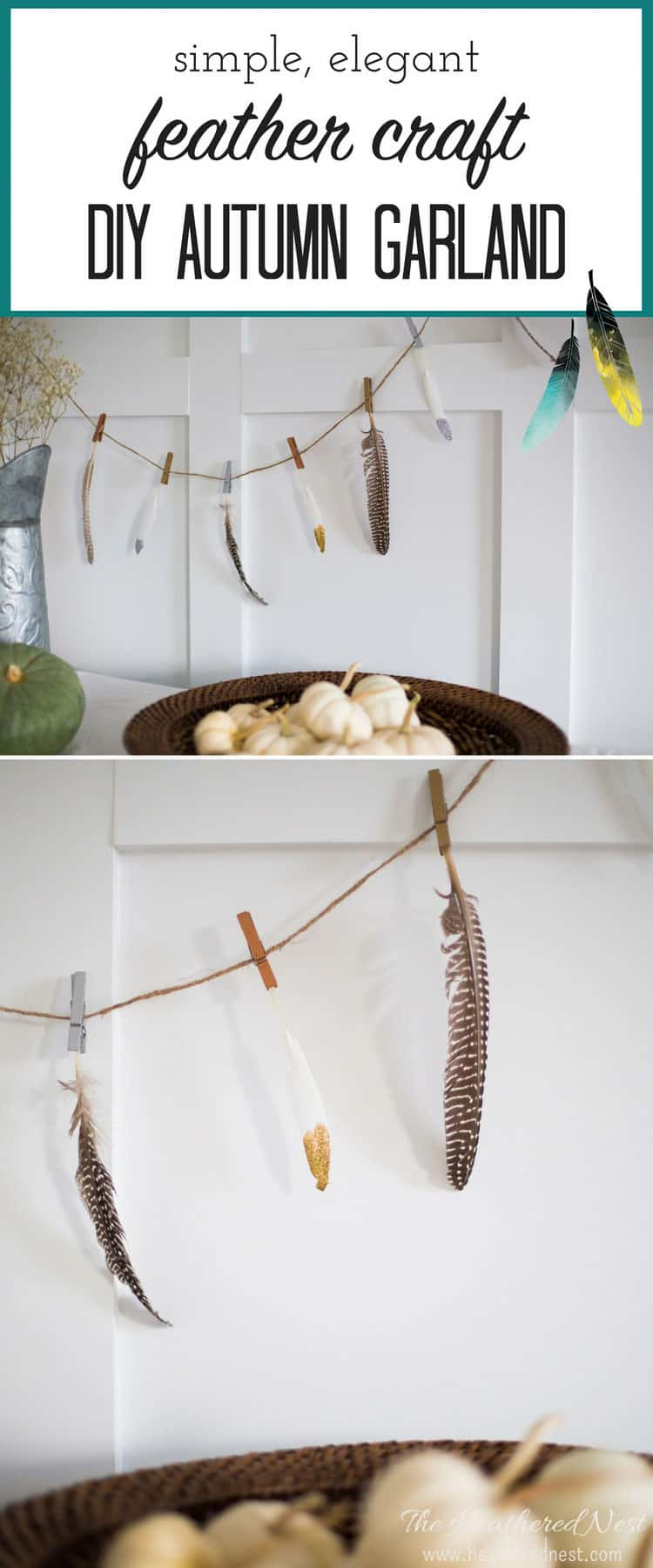 So beautifully simple!! Definitely trying this fall garland/feather craft this season!!
