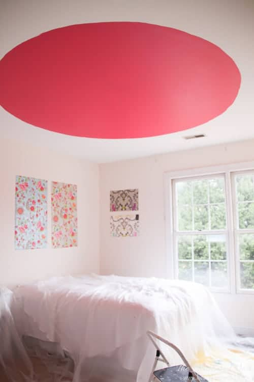 looks odd, but this becomes the prettiest ceiling detail - ceiling feature ever!! #DIY #homeimprovement #pinkbedroom #ceilingtreatment #fifthwall #ceilingideasa