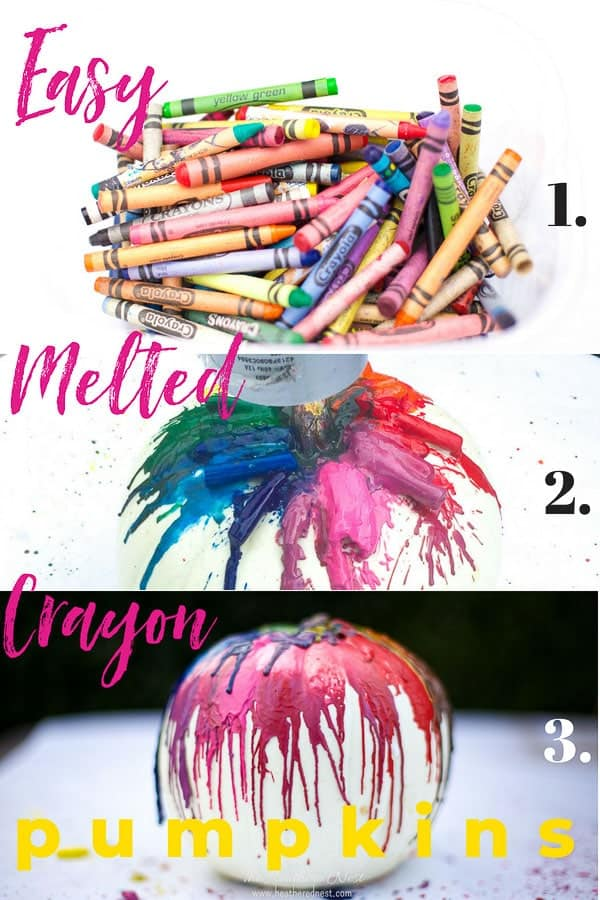 Quick & Easy Melted Crayon Pumpkin Tutorial! This is such a popular fall craft. Use a pumpkin or a funkin to make this colorful, fun fall decor. Super fun crayon craft idea for kids! #pumpkinideas #funkinideas #meltedcrayonpumpkin #meltedcrayonfunkin #crayoncraftideas #fallcraftsforkids #fallcrayoncraftidea #crayonpumpkins #howtomakeameltedcrayonpumpkin #howtomakeameltedcrayonfunkin #colorfulpumpkinideas #nocarvepumpkinideas #nocarvepumpkins