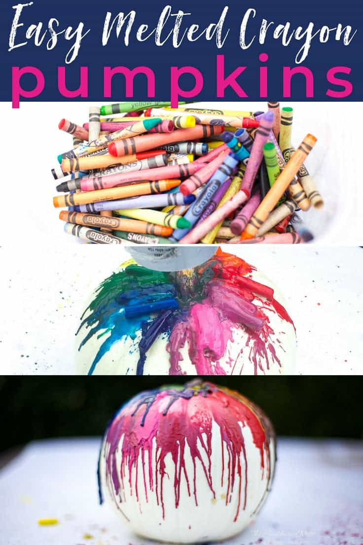 Quick & Easy Melted Crayon Pumpkin Tutorial! This is such a popular fall craft. Use a pumpkin or a funkin to make this colorful, fun fall decor. Super fun crayon craft idea for kids! #pumpkinideas #funkinideas #meltedcrayonpumpkin #meltedcrayonfunkin #crayoncraftideas #fallcraftsforkids #fallcrayoncraftidea #crayonpumpkins #howtomakeameltedcrayonpumpkin #howtomakeameltedcrayonfunkin #colorfulpumpkinideas #nocarvepumpkinideas #nocarvepumpkins #drippaintedpumpkins