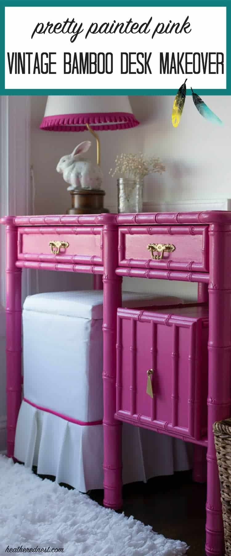 What a GORGEOUS painted furniture makeover! LOVE this pink desk/vintage bamboo desk done in pink...want to try this for my daughter's bedroom too!
