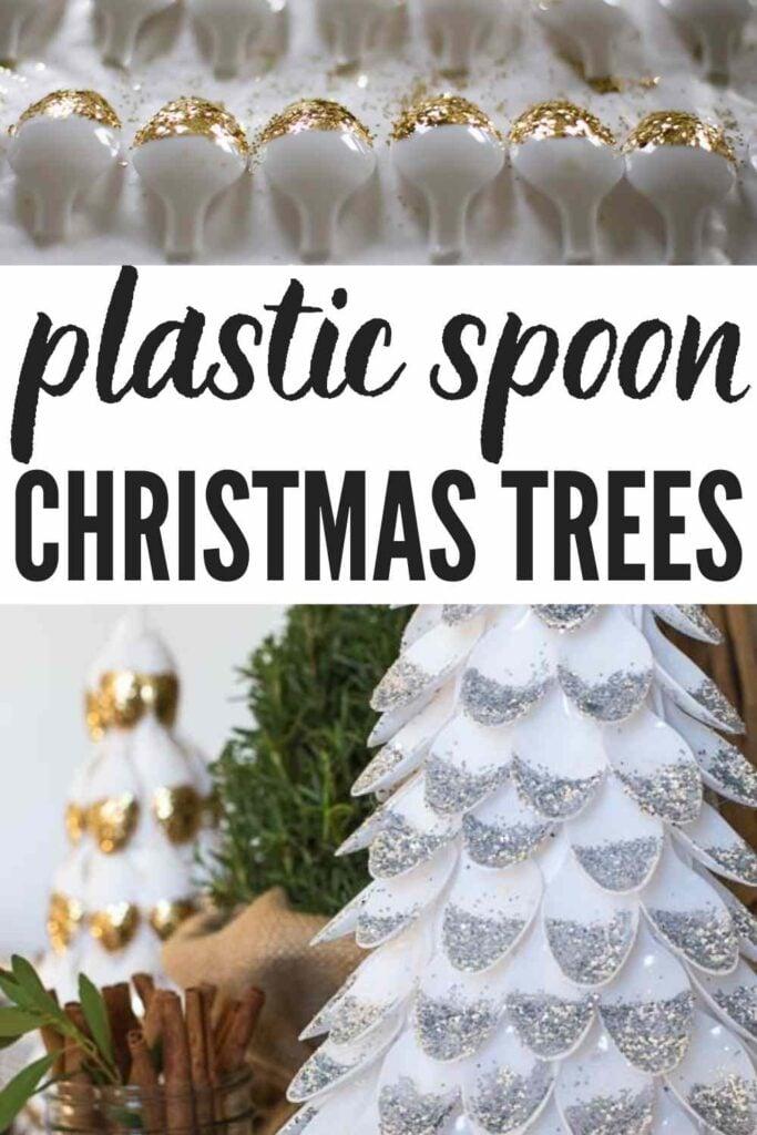 Text: Plastic Spoon Christmas Trees image of glittered spoons and a completed plastic spoon christmas tree craft