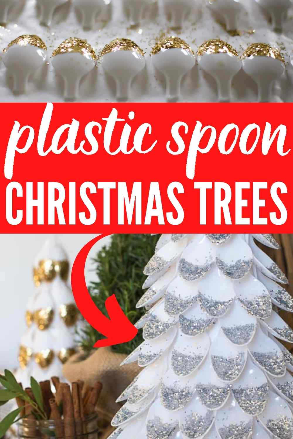 Text: Plastic Spoon Christmas Trees image of glittered spoons and a completed plastic spoon christmas tree craft