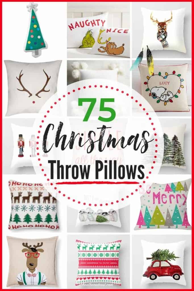 75 Best Christmas Throw Pillows for the Holiday Season! Christmas Pillows are a great gift idea, & a quick & easy way to decorate your home for the holidays! #christmaspillows #holidaypillows #christmasthrowpillows #christmasdecor #easychristmasdecorideas #easychristmasdecoratingideas #christmasgiftideas