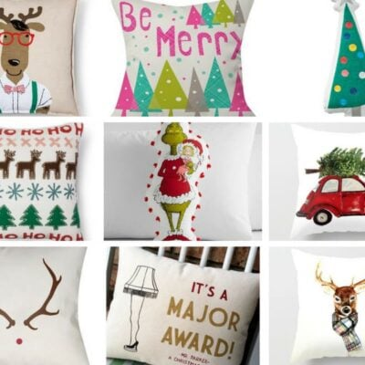 ALL the best Christmas pillows of the season in ONE spot!! Found so many here I LOVE!! #christmaspillows #holidaypillows #christmasthrowpillows #christmasdecor #easychristmasdecorideas #easychristmasdecoratingideas #christmasgiftideas