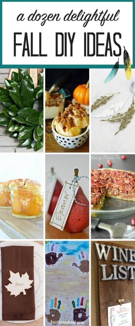 12 terrific DIY ideas for fall! Recipes, wreaths, pumpkin, place cards and printables, oh my!! #fallDIYideas #DIYideasforfall #fallhomeprojects #DIYhomeprojectsforfall #fallrecipes #fallcrafts #fallwreath #fallplacecards #fallhandprintcrafts