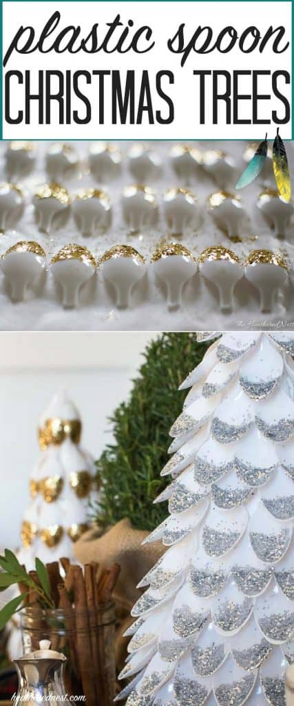 WOW! These look SO pretty! A plastic spoon craft DIY christmas tree. This is a popular craft right now. Going to try this out this holiday season! #christmas #christmascraftideas #dollartreecrafts #dollartreechristmas #plasticspoons #christmastreecraft #DIYchristmascrafts #DIYChristmasdecor #christmastreeideas