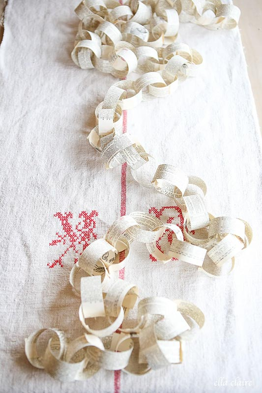 Vintage Book Page Paper Chain Holiday Garland Ella Claire Inspired