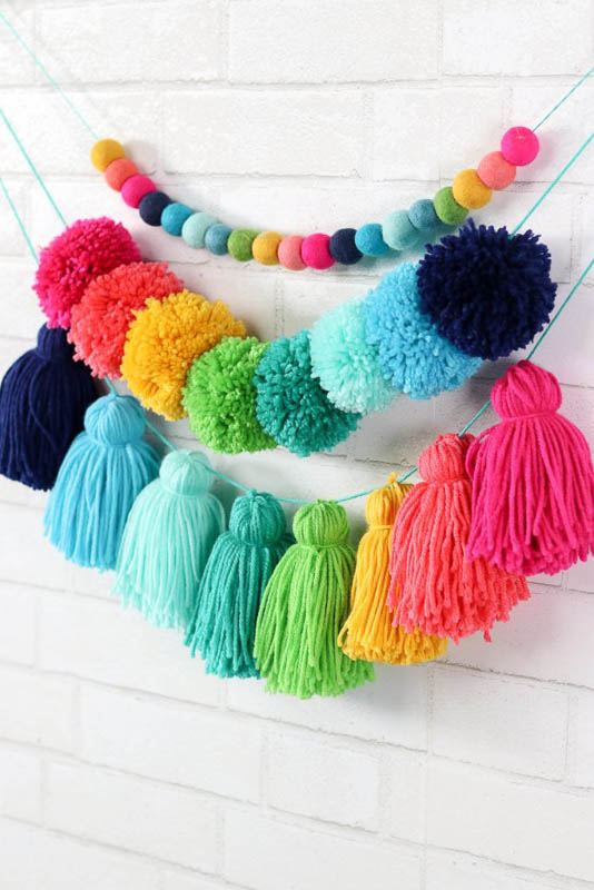 Tiered Colorful Tassel and Pom Pom DIY Garland