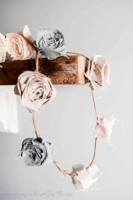 Soft Colored Fabric Floral DIY Garland on Jute Twine