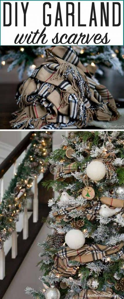 What a simple, beautiful DIY garland idea! Winter scarf garland!! Love this popular look. #DIYgarland #garlandideas #garlandchristmastree #garlandchristmas #garland #garlandchristmastreeideas #winterscarves #scarf #christmastreeideas #christmastree
