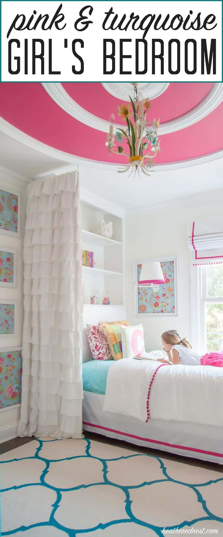 """GORGEOUS! Turquoise and pink bedroom reveal from heatherednest.com LOVE the DIY bedding! And that wallpaper :) :)"