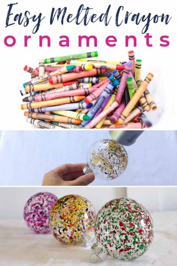 FUN and Easy DIY Christmas ornament idea! And a great way to recycle old crayons! So colorful! #DIY #Christmas ornament melted crayon art from heatherednest.com #Christmasornament #Christmastree #ornamentideas #crayon #craft #howtomakeameltedcrayonornament #meltedcrayoncraftideas #meltedcrayonart #crayonornaments #crayonchristmasornaments #easychristmasornamentideas #diychristmasornamentideasforkids #ornament #funcraftsforkids #funchristmascraft