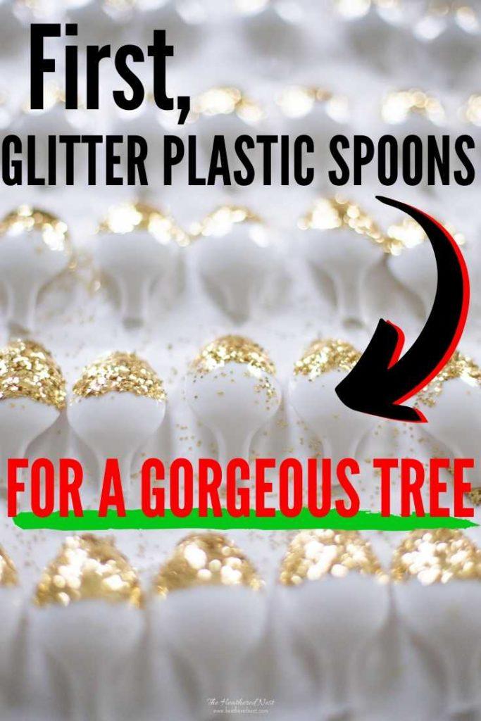 Plastic Spoon Christmas Trees image of glittered spoons and a completed plastic spoon christmas tree craft