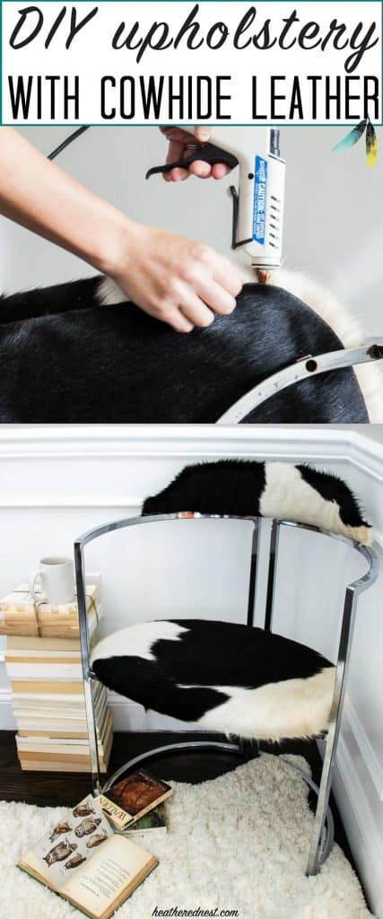 Easy tips for reupholstering a chair with cowhide leather. DIY upholstery doesn't have to be hard!! www.heatherednest.com
