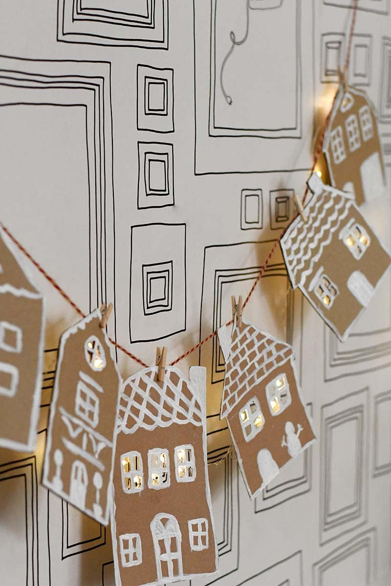 Upcycled Cardboard Gingerbread House DIY Christmas Garland idea