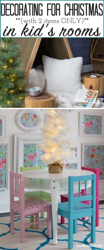 So simple!!! Just 2 items in each kid's room!! LOVE easy decorating for Christmas ideas!! #kidsroomchristmasdecor #christmasdecorforkids #easychristmasdecorideas
