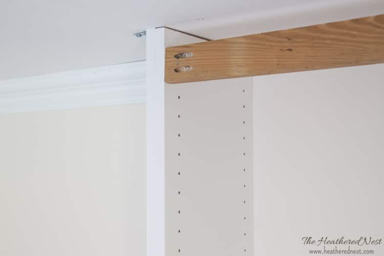 DIY built in nook with melamine shelving and Kreg jig from heatherednest.com