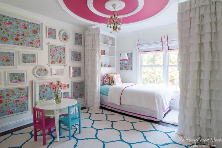 pink and aqua girls bedroom