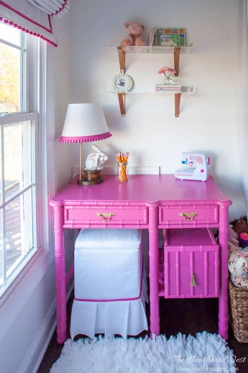Gorgeous vintage bamboo desk makeover. LOVE this pink!! from heatherednest.com