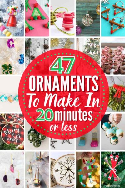 """grid with 20 quick and easy DIY Christmas ornament ideas: """"47 Ornaments To Make In 20 Minutes or Less"""""""