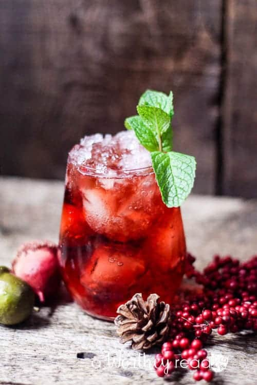 I would never think to add mint to a cranberry drink, but it's so festive looking! This would be perfect for NYE!