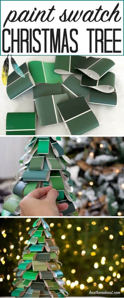 I LOOOOVE THIS! What a great, inexpensive, easy DIY Christmas tree craft...made from paint swatches! This is going to be a popular DIY idea this holiday season!!
